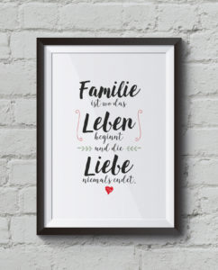 """Familie, Leben, Liebe"" Kunstdruck, Familienposter"